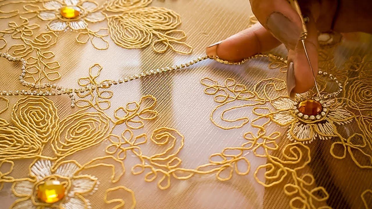 1b6f3c64096b61 Bordando Pedrarias: Aplicação de Corrente de Strass Renda Bordada-  Embroidery Needles Ep.223