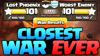 Clash of Clans Clan War - The CLOSEST War Ever!