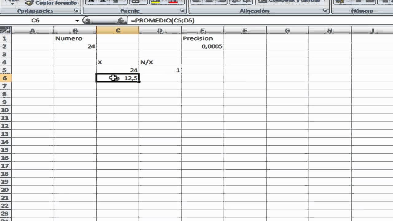 Cálculo de una raíz cuadrada con Excel - YouTube