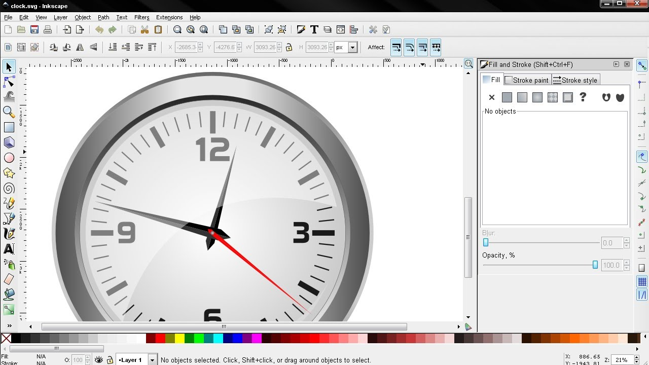 Clock Vector Graphic PART 2 - Inkscape Tutorial - YouTube