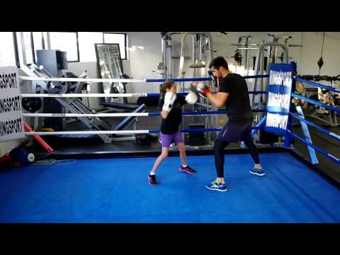 Grace training at Premier boxing club in Perth, WA