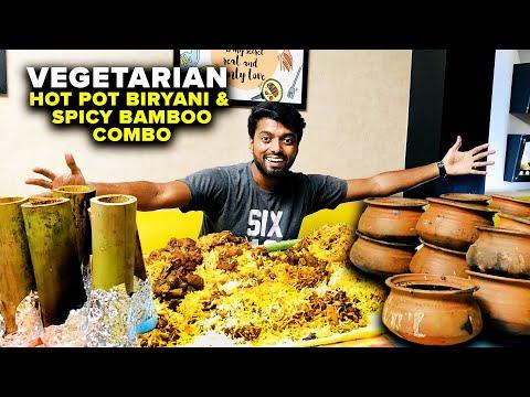 1499₹ VEGETARIAN HALEEM COMBO !! HOT POT BIRYANI & Spicy bamboo Rasavid Velachery Chennai