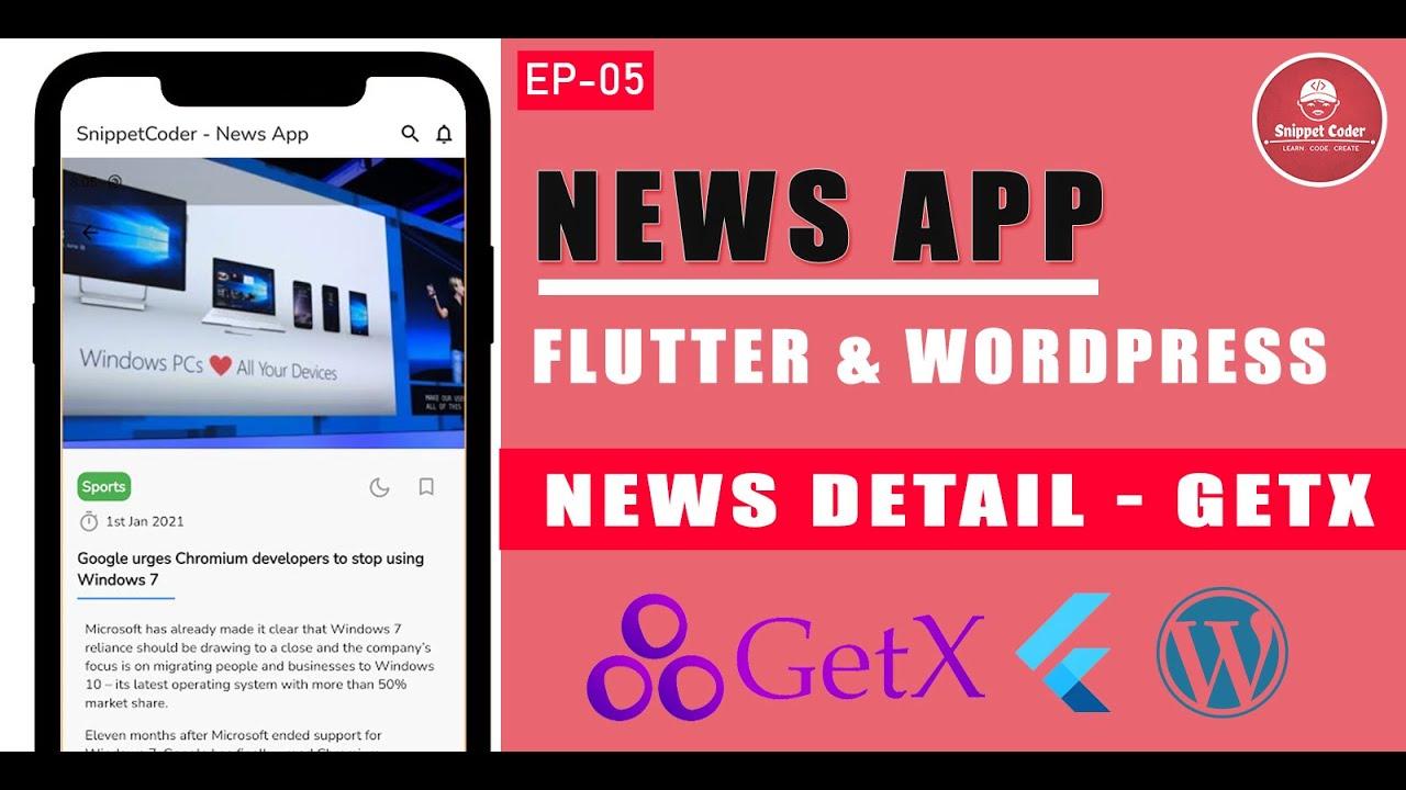 Flutter News Application using GetX and WordPress Custom API - News Detail Integration