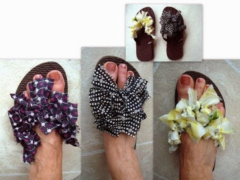 RAGS FLIP FLOPS how to diy dress up thongs with rags