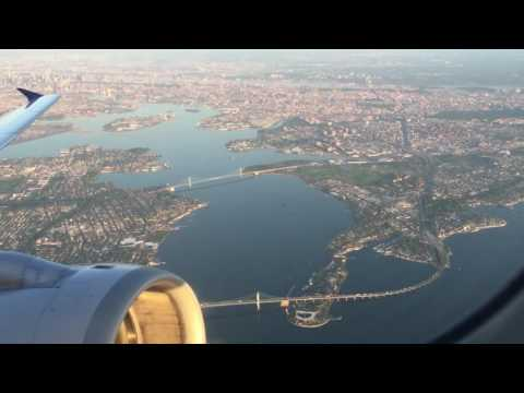United Airlines Early Morning takeoff A320 from LGA Laguardia NYC - Great Views