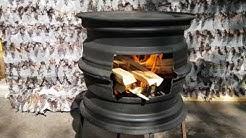 Grilli autonvanteista - weel rim wood stove