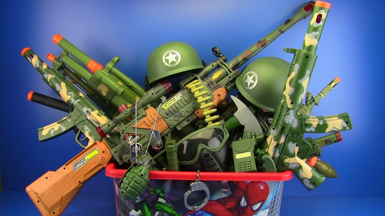 Best Toy And Model Soldiers For Kids : Box of toys military guns equipment for