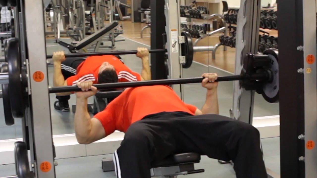 Smith Machine Bench Press Chest Exercise Youtube