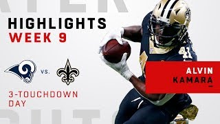 Alvin Kamara's Triple-TD Game vs. Rams
