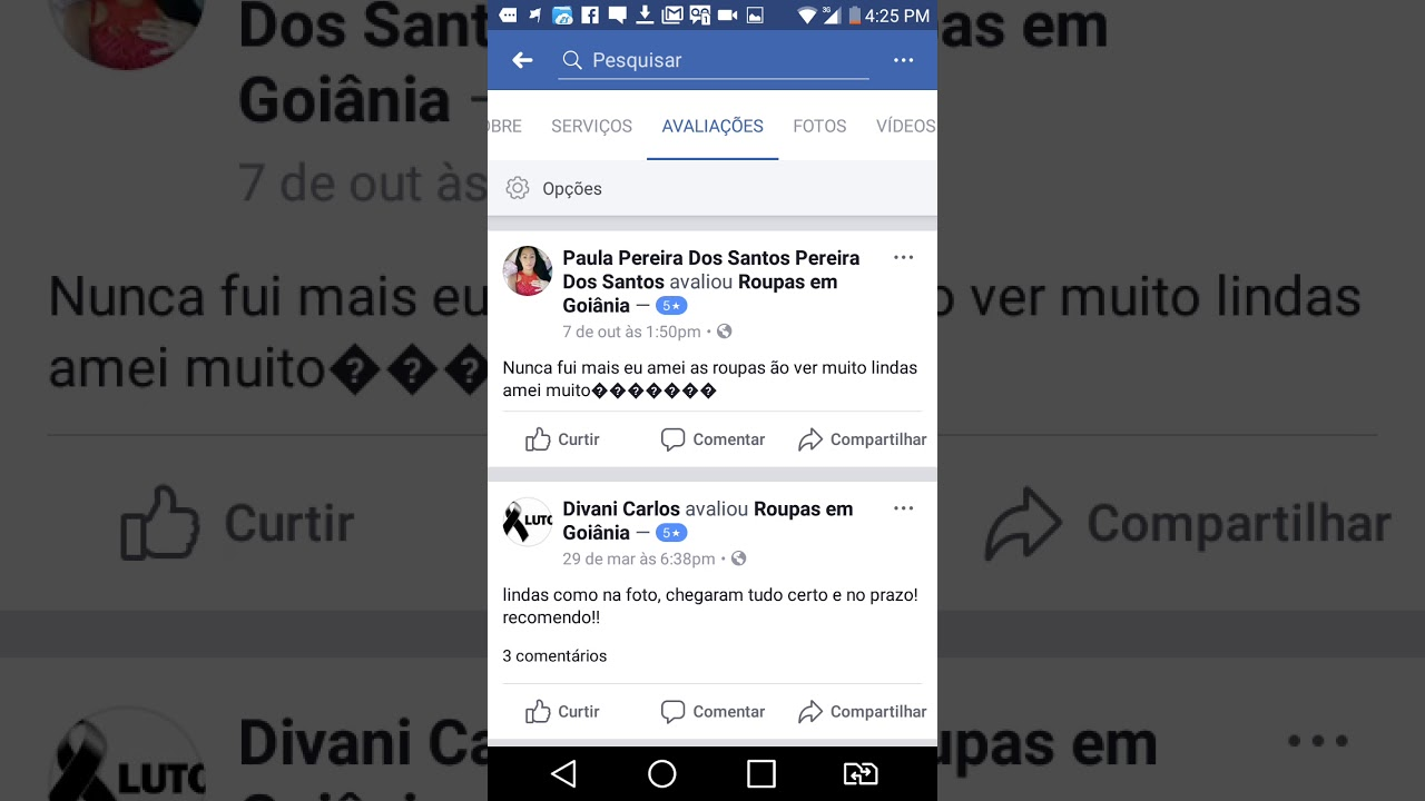 e482fae41a7 Referências e Avaliações de Clientes na Página do Facebook   Assessora de  Compras em Goiânia