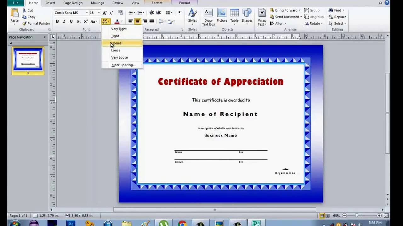 How to make certificate using microsoft publisher youtube for Microsoft publisher award certificate templates