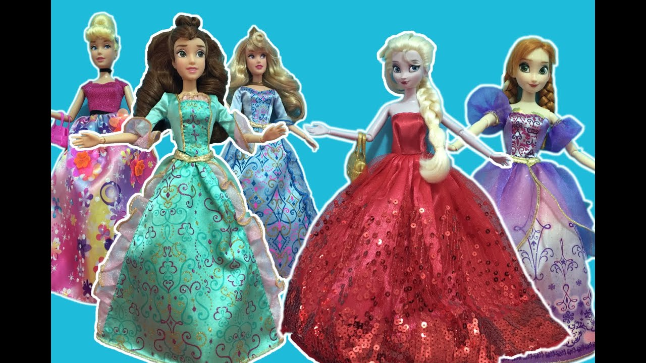 Disney Princess Dress up! Elsa Anna, Belle Aurora+Cinderella get ...