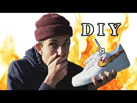 Custom FLAME Air Force 1's!! - [ FULL TUTORIAL ] - Custom Shoes
