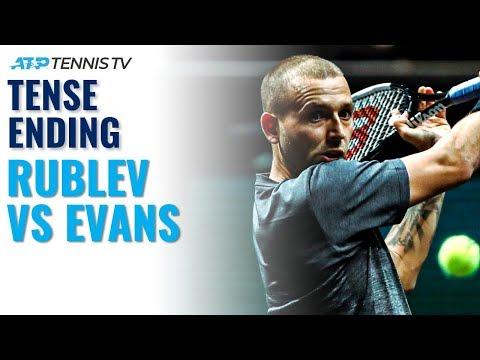 Andrey Rublev vs Dan Evans Tense Ending | Dubai 2020 Highlights