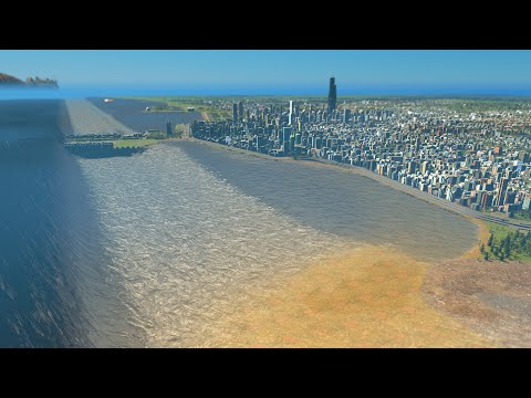 Mega Tsunami destroys Chicago | Cities Skylines Tsunami #113 |