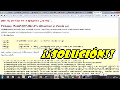 SOLUCIÓN | Microsoft.Jet.OLEDB.4.0/12.0 | System.Data.OleDb.OleDbException | IIS7 VB2010
