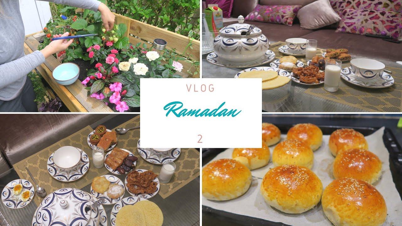 Ramadan Vlog 2    تحضيراتي لمائدة الفطور ، وصفة سهلة للقراشل و التول باللوز