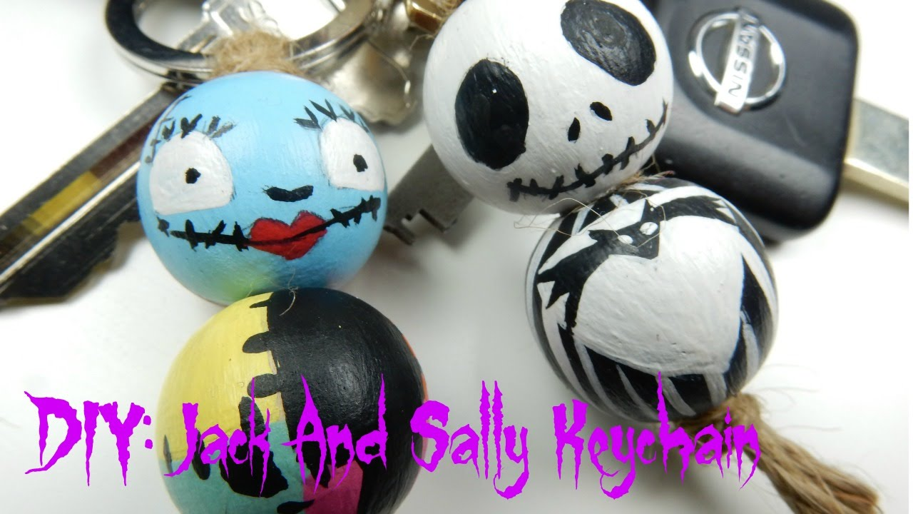 diy jack and sally keychains the nightmare before christmas - Jack Skeleton Christmas Decorations