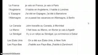 uitleg Frans, à, en, au, aux stad en land
