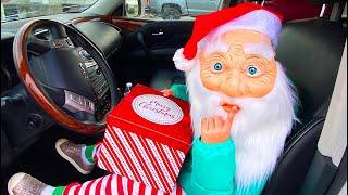 Santa Claus Surprises Parents with Christmas Presents | Santa driving in my car