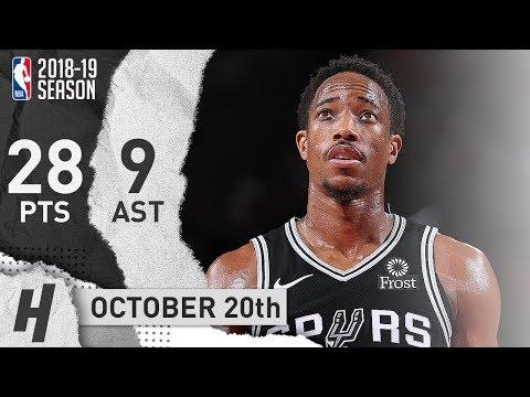 DeMar DeRozan Full Highlights Spurs vs Trail Blazers 2018.10.20 - 28 Pts, 9 Ast