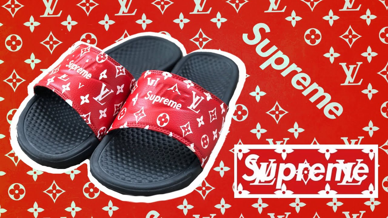 d8dadc71dea766 CUSTOM NIKE SLIDES ( LOUIS VUITTON x SUPREME ) - YouTube
