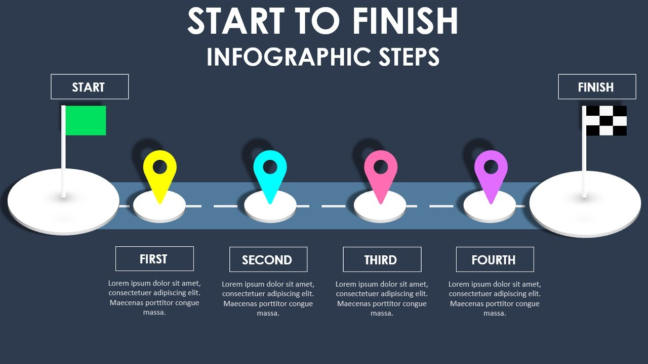PowerPoint Infographic slide with Start and Finish goal Flags | Free Download |PowerPoint University