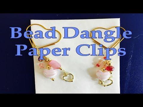 Bead Dangle Heart Paper Clip