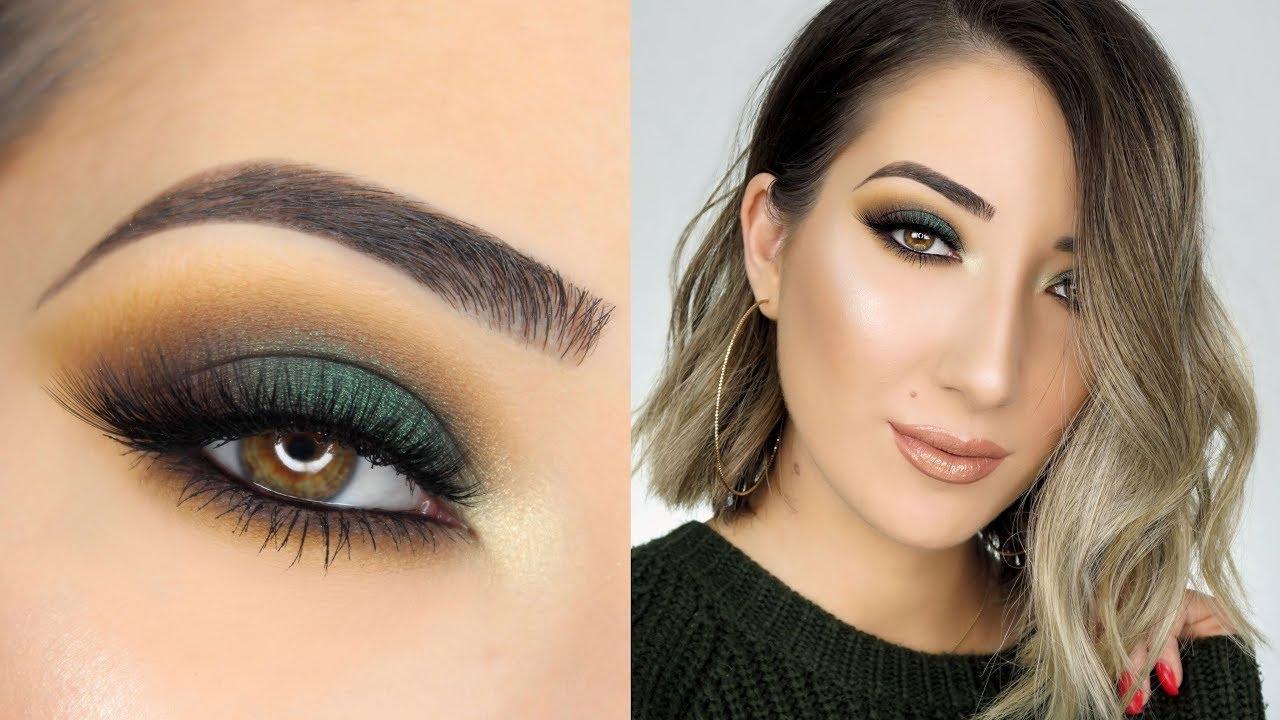 dark green smokey eye makeup tutorial