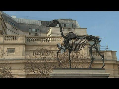 Trafalgar Square taken over by horse's skeleton