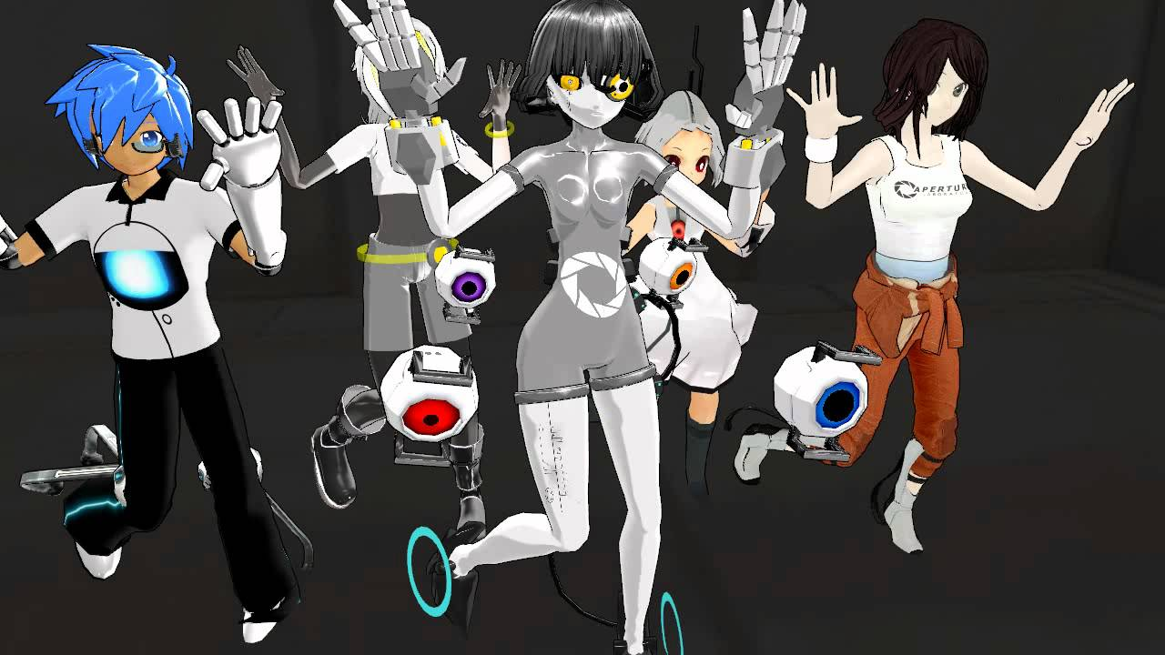 Mmd Love Joy Feat Glados Wheatley Chell Space Core Turret Tan Hd