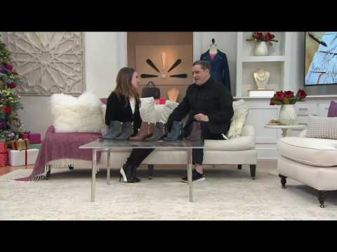 Isaac Mizrahi Live! Leather & Suede Wedge Ankle Boots on QVC