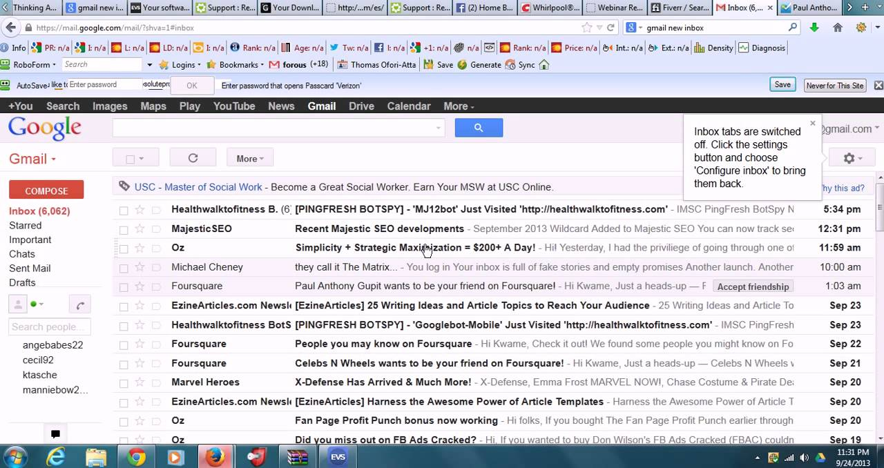 how to show content of gmail
