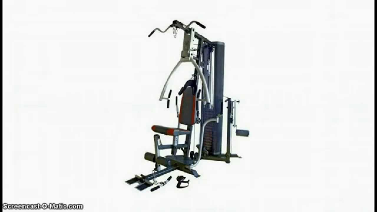 The marcy mp3500 platinum home multi gym with thigh trainer.