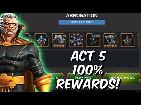 Free To Play Act 5 100% Rewards Opening! - 5 Star Gems & More! - Marvel Contest Of Champions