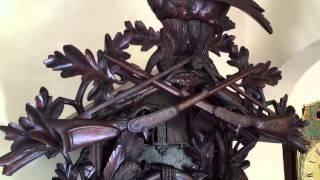 Rare Monster Antique Musical Cuckoo Clock Hunter Motif Circa 1890-1900