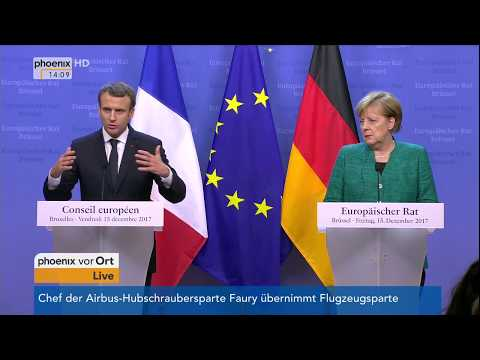 Pressekonferenz mit Bundeskanzlerin Angela Merkel und Emmanuel Macron am 15.12.17