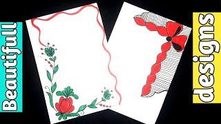 2 Flowers/Border designs on paper/Beautiful Border designs/Project work designs/border for projects/