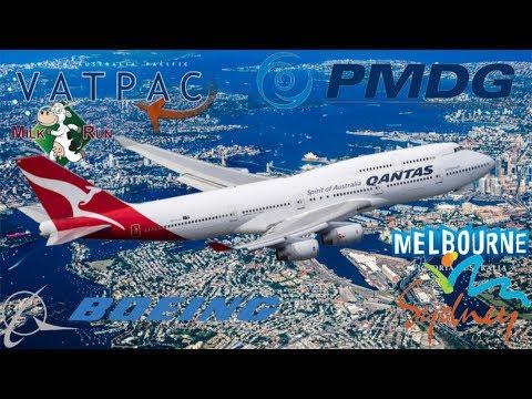 PMDG 747-400 QOTS3 Vatpac Milkrun YSSY-YMML QFA417