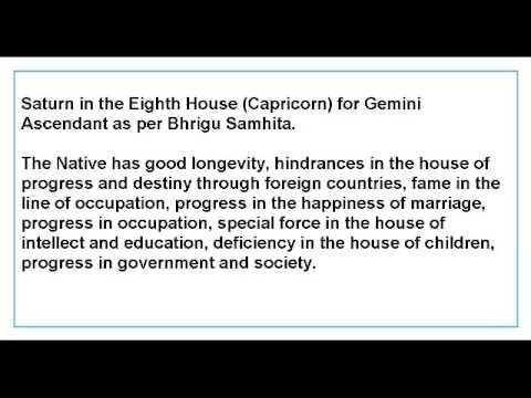Saturn in the Eighth House for Gemini Ascendant as per