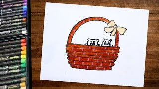 How to draw a kitten basket using oil pastel step by step