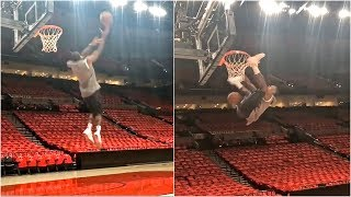 Rajon Rondo trying to throw down some filthy dunks ahead of Lakers debut in Portland
