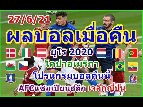 ผลบอลเมื่อคืน/โปรแกรมบอคืนนี้/ยูโร2020/AFCแชมเปียนส์ลีก/โคปาอเมริกา/เจลีกตารางคะแนน/27/6/21