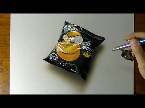 Drawing a bag of chips - How to draw 3D Art