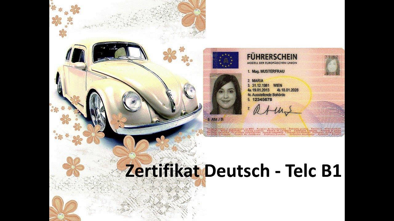 Zertifikat Deutsch Telc B1 Sprachbausteine Teil 1 Führerschein