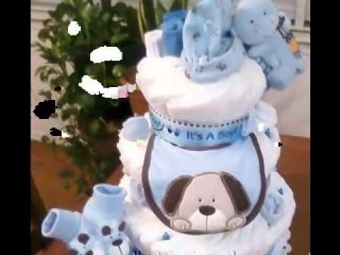 Boy diaper cake decorating ideas - YouTube