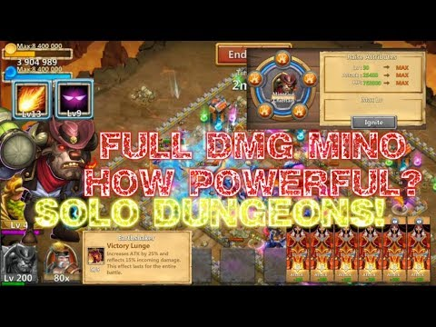 FULL DMG Skill13 Mino HOW POWERFUL?SOLO DUNGEONS! - Castle Clash