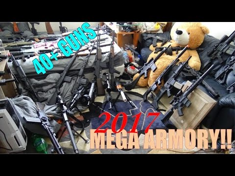 $12,000 40+ gun Massive Airsoft MEGA ARMORY!! (short version) +a teddy bear c;