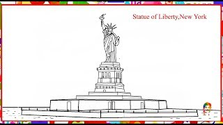 How to draw symbol of America statue of liberty, New York
