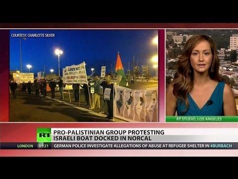 Pro-Palestine protesters blockade Israeli ship in California